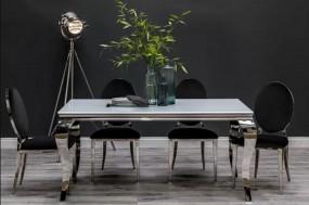 Luksusowe krzesło fotel do jadalni  AKSAMIT + STAL salon jadalnia