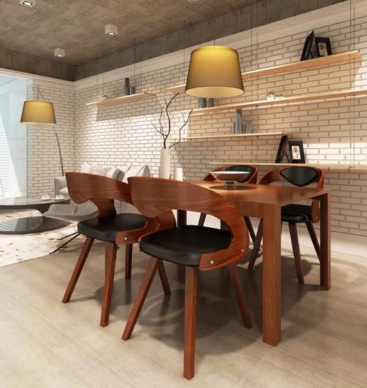4 X Krzesło Drewniane Styl Industrialny Skórzane Siedzisko