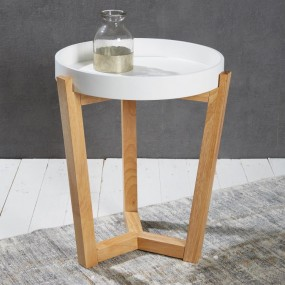 Nowoczesny stolik kawowy biały z tacą  ø 40 cm ława stół stolik okrągły szafka nocna z drewna