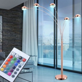 Lampa podłogowa stojąca 5 kloszy medziana zmiana koloru RGB + PILOT LED 200 cm antyk styl