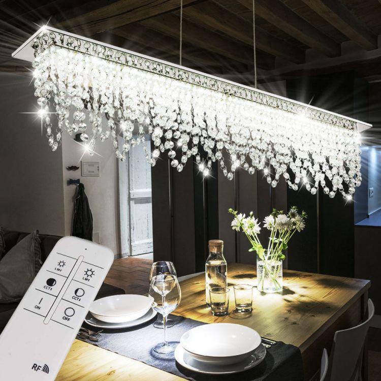 Luksusowa Lampa Wisząca Duża Led Kryształ Nad Stół Chrom Pilot