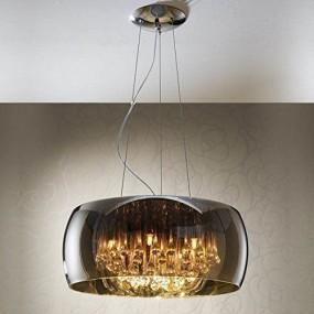Duża nowoczesna lampa sufitowa wisząca CHROMOWANE SZKŁO LED 5 x G9
