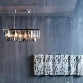 Luksusowa lampa wisząca nad stół GLAMOUR antyk przydymiony kryształ 8 LED