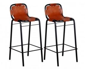 Hokery 2 szt Hoker z prawdziwej skóry Stołki barowe Komplet Krzesła do baru brązowe