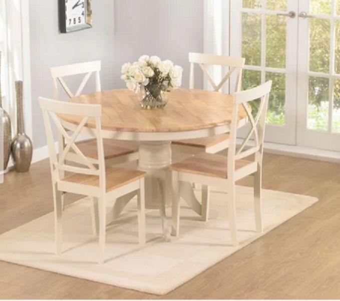 Stół Do Jadalni Rozkładany 4 Krzesła Drewno Komplet Dąb