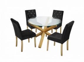 Stół do jadalni owalny + 4 czarne krzesła drewno komplet dąb szklany blat okrągły ława stolik kryształki