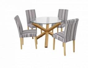 Stół do jadalni owalny + 4 kolorowe  krzesła 106cm  drewno komplet dąb szklany blat okrągły ława stolik  paski zestaw