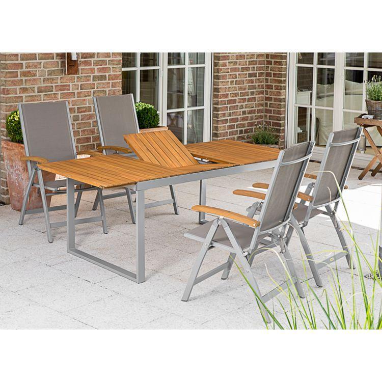 Meble Ogrodowe Zestaw 5 Częściowe Stół Ogrodowy 4 Krzesła Taras Regulacja Drewno Akacja Aluminium