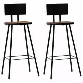 Hokery 2 szt Krzesła barowe z naturalnego drewna ciemny brąz Komplet z oparciem