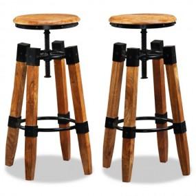 2 x Hoker barowy regulowana wysokość Krzesło barowe naturalne drewno mango Komplet 2 szt
