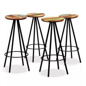 4 x Stołek barowy Hoker Krzesła barowe naturalne drewno  Komplet 4 szt
