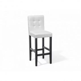 Hoker barowy biały 1 szt Krzesło barowe  z oparciem tapicerowane drewno stołek chesterfield