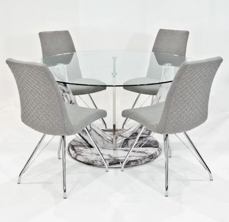 Stół Do Jadalni Owalny 4 Szare Krzesła 140cm Drewno Komplet