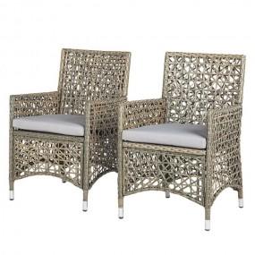 Fotele ogrodowe 2 sztuki zestaw krzeseł styl siatkowy polirattan szary
