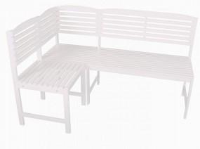 """Ławka ogrodowa biała w kształcie litery """" L"""" naturalne drewno eukaliptusowe"""
