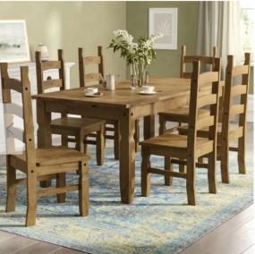 Stół do jadalni kuchni salonu zestaw stół 6 krzeseł drewno komplet gruby blat 183cm ława stolik drewno sosnowe