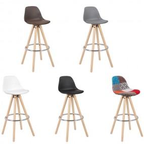 Hoker 1 szt Stołek barowy z naturalnego drewna skóra Krzesło barowe dużo kolorów z oparciem