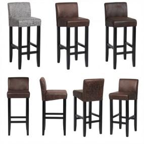 2 x Krzesło barowe Hoker z oparciem Stołek barowy Zestaw 2 szt różne kolory skóra drewno styl