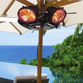 Ekskluzywny ogrzewacz elektryczny mocowany do parasola 4 lampy grzejnik wiszący na taras 4 x 500W
