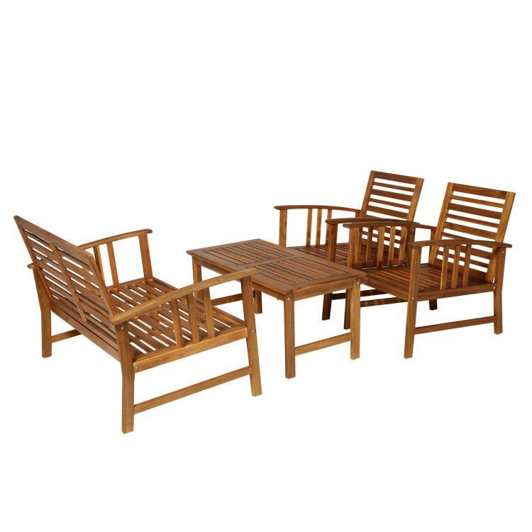 Meble Ogrodowe Drewniane Komplet 4 Elementy Meble Na Taras Balkon Ogród Poduszki Akacja Sofa Stół Stolik Fotele Zestaw