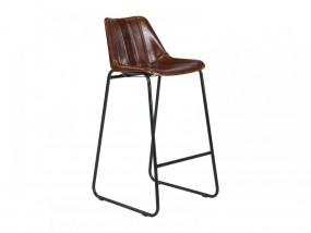 Hoker 1 szt Stołek barowy skóra żelazo Krzesło barowe z oparciem brązowe styl