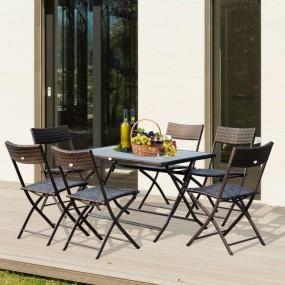 Meble ogrodowe rattanowe zestaw 7 elementów składany meble na taras ogród stół + 6 krzeseł fotele komplet stal