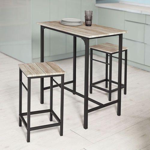 Stolik Kuchenny Barowy Barek 2 Krzesła Stół Barowy Stołek Zestaw Meble Ogrodowe Metal Drewno Hoker ława Ogród