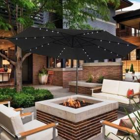 Parasol ogrodowy LED Ø350cm przeciwsłoneczny parasol plażowy ogród patio stojak korba