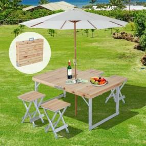 Stolik ogrodowy drewniany składany mobilny turystyczny zestaw z krzesłami