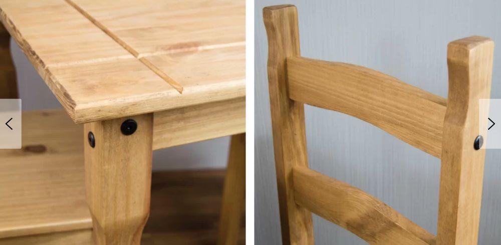 Stół Do Jadalni Kuchni Salonu Zestaw Stół 2 Krzesła Drewno Komplet Gruby Blat ława Stolik Drewno Sosnowe