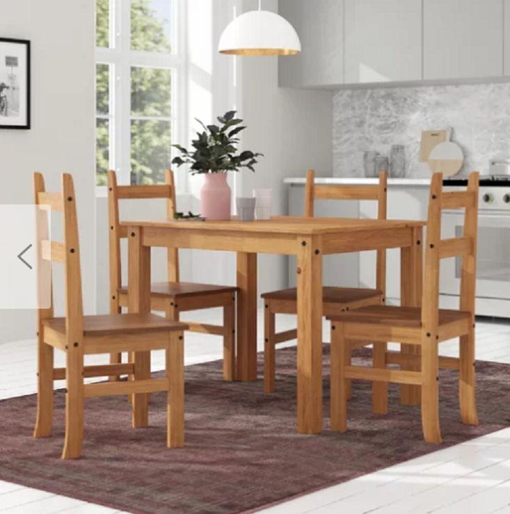 Stół Do Jadalni Kuchni Salonu Zestaw Stół 4 Krzesła Drewno