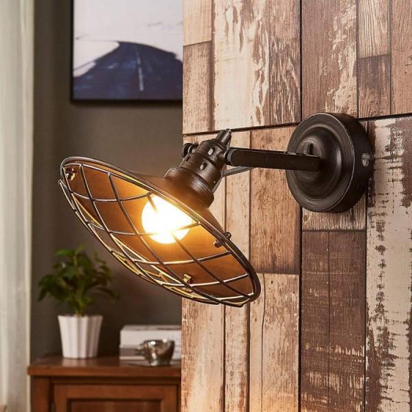 Kinkiet lampa ścienna regulowana osłona z kratki w stylu industrialnym 40 W