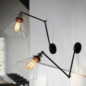 Kinkiet regulowany loft styl INDUSTRIALNY lampa szklany abażur E27 ciepła biel