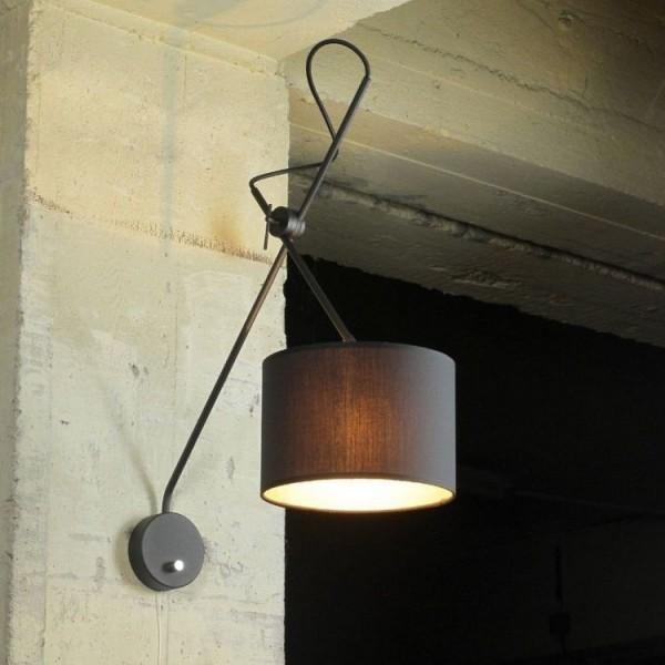 Stylowa lampa ścienna regulowana  LOFT  E14 przełącznik czarny abażur ze złota nitką