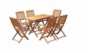 Komplet drewno naturalne ogród zestaw STÓŁ+ 6 krzeseł  meble ogrodowe drewniane