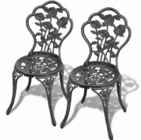 2 x krzesło aluminium + żeliwo  ANTYK zielone bistro kawiarnia bar ogród taras
