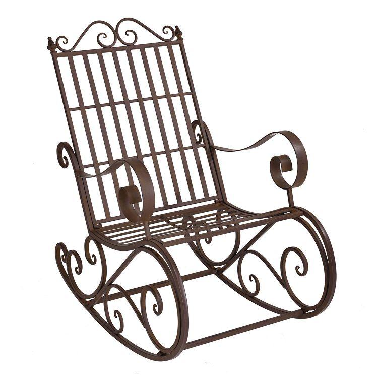 Fotel Bujany Na Biegunach Vintage Antyk Krzesło Ogrodowe Relaks Taras Patio 2 Kolory