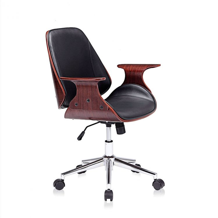 Fotel Biurowy Krzesło Obrotowe Skóra Drewno Retro Funkcja Relax Z Oparciem