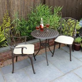 Zestaw ogrodowy stół +2 krzesła antyczny metalowy ciastkarnia  kawiarnia, bar, restauracja