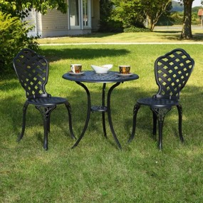3 częściowy zestaw mebli ogrodowych kolor czarny antyczny komplet bistro kawiarnia pub piekarnia