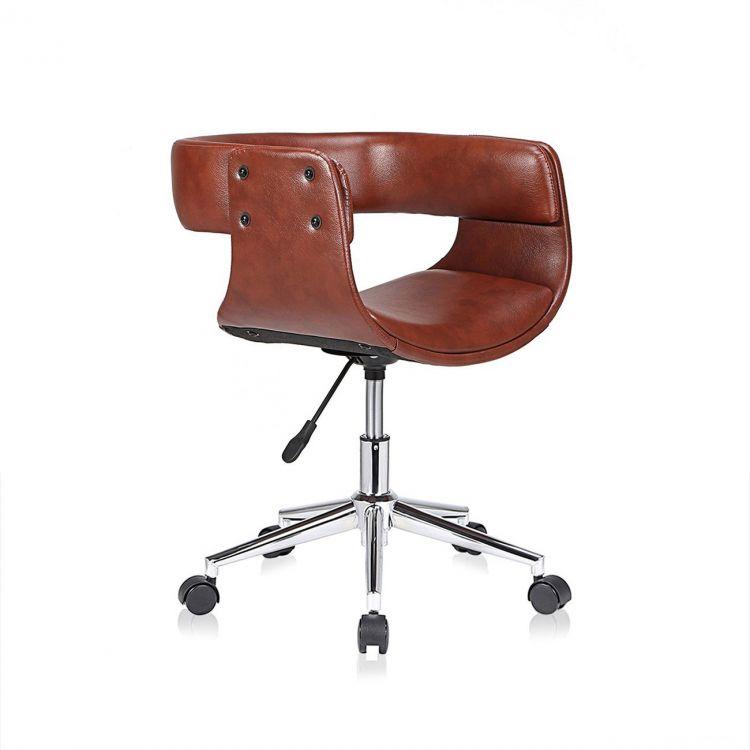 Fotel Biurowy Prezesa Krzesło Obrotowe Barowe Z Oparciemskóra Retro