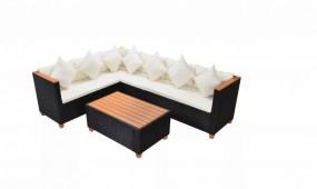 Zestaw mebli do ogrodu narożnik kanapa stolik ława poduszki rattan+ drewno ogród zestaw wypoczynkowy relax komplet