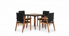 Zestaw mebli do ogrodu stół + 4 krzesła stolik ława fotel rattan+ drewno ogród zestaw wypoczynkowy relax komplet czarny