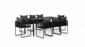 Zestaw mebli ogrodowych 17 elementów stół + 8 krzeseł stolik ława fotel rattan ogród szklany blat szkło komplet czarny