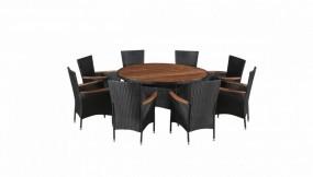 Zestaw mebli ogrodowych 17 części  okrągły stół + 8 krzeseł stolik ława fotel rattan+ drewno ogród owalny blat  komplet