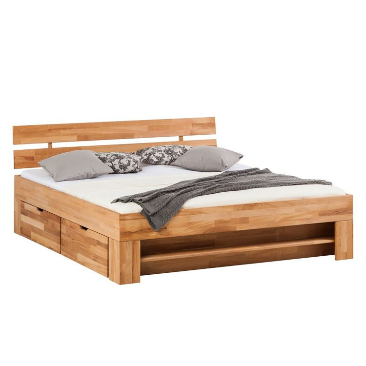 Masywne łóżko Drewniane Z Szufladami 140x200 Cm Pojemnik Na Pościel Sypialnia