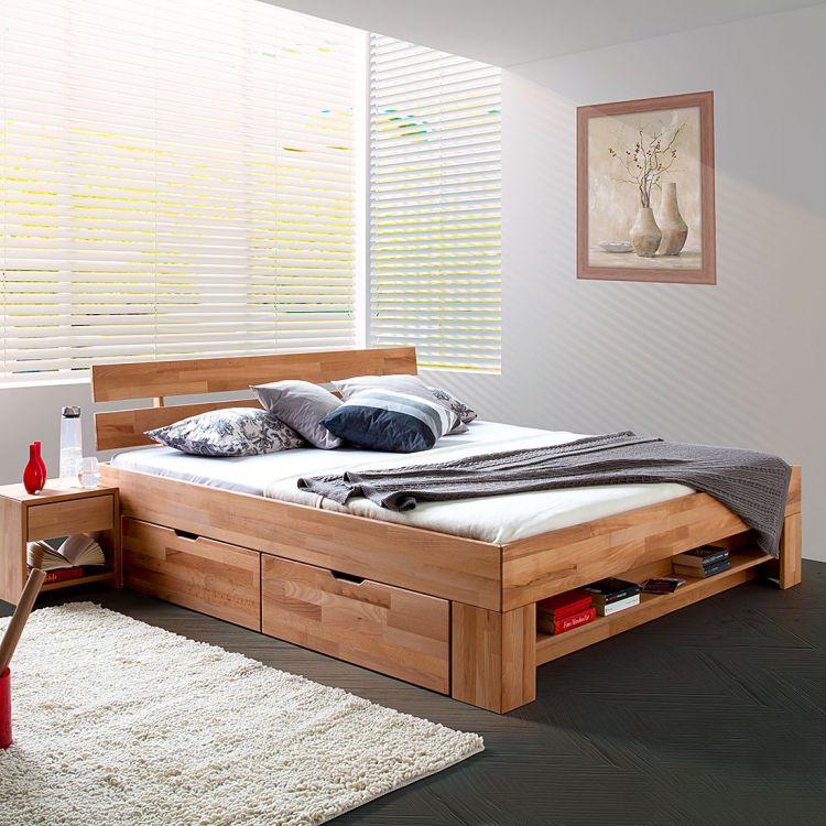 Masywne łóżko Drewniane Z Szufladami 140x200 Cm Pojemnik Na