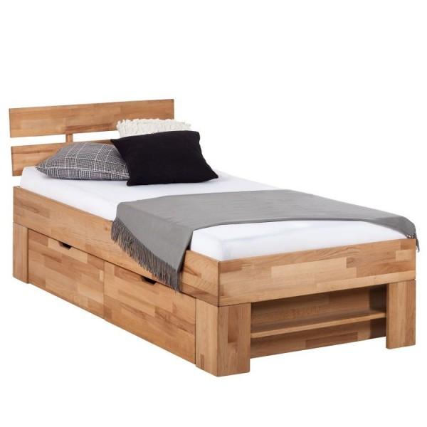 łóżko Do Sypialni Masywne Drewno Bukowe Z Szufladami Na Pościel 90x200 Cm