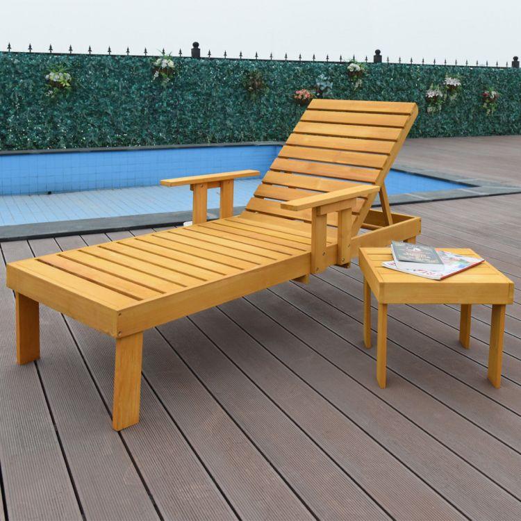 Leżak Stolik Drewniany Leżak Spa Meble Ogrodowe Komplet