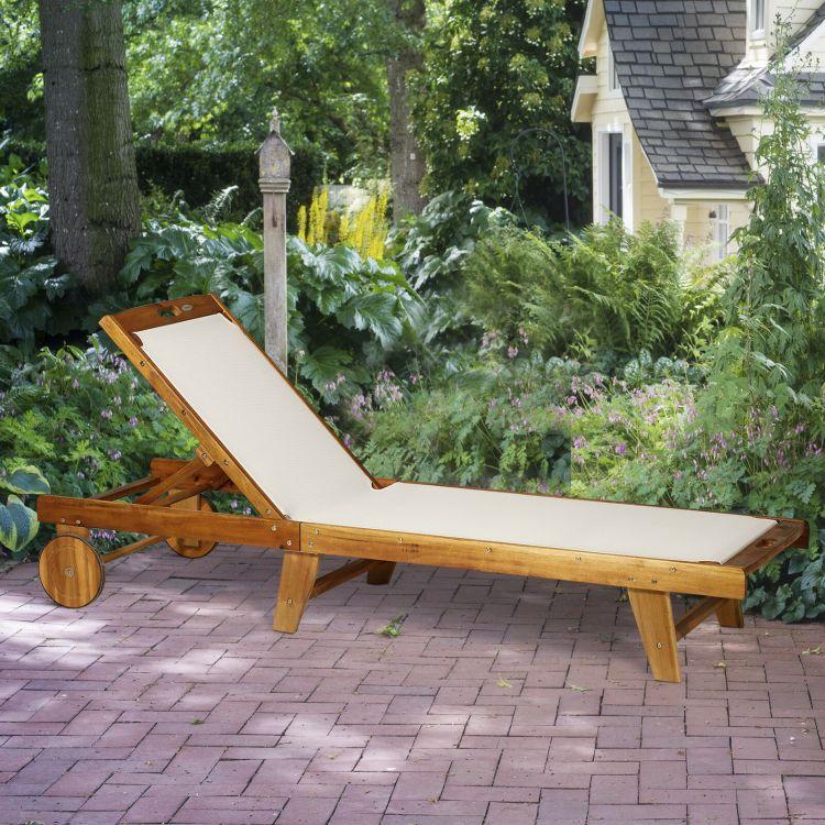 Leżak Regulowany Drewniany Leżak Spa Meble Ogrodowe Relax Leżanka Kółka Materiał Sofa łóżko Do Opalania